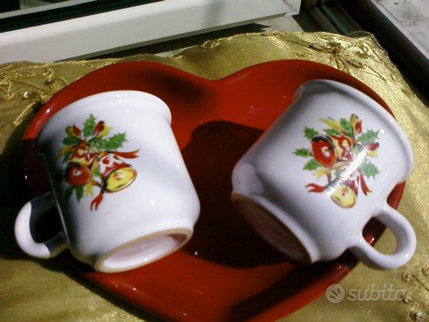 Romantico set coppia tazzine e vassoio a cuore