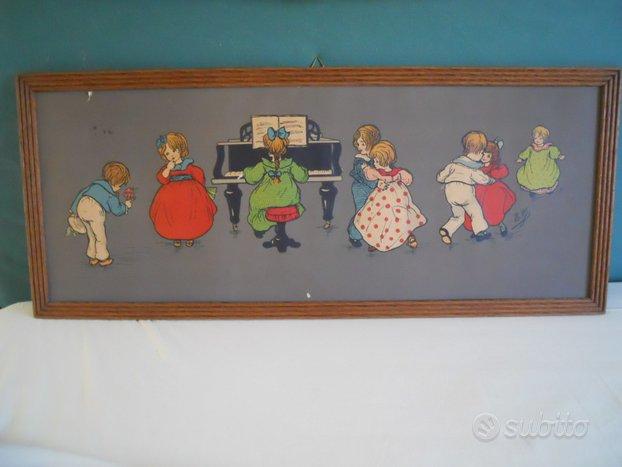Quadro antico bambina al pianoforte e altri bimbi