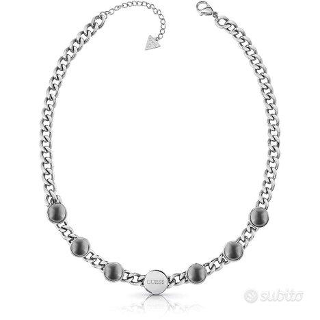 GUESS collana donna in acciaio con perle