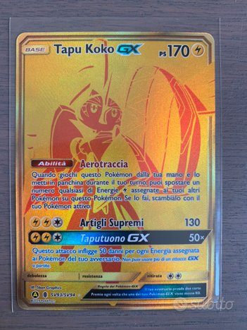 Pokemon Tapu koko gx gold destino sfuggente carte