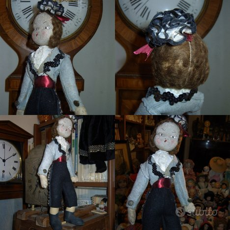 Antica bambola caractere in feltro parrucca mohair