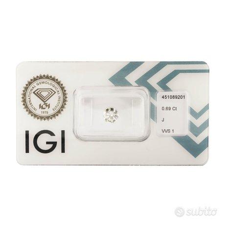 Diamante certificato IGI 0,69 ct