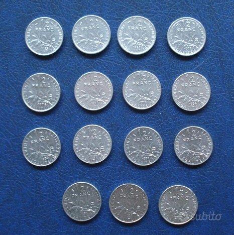 Francia 1/2 mezzo franc 15 monete anni diversi