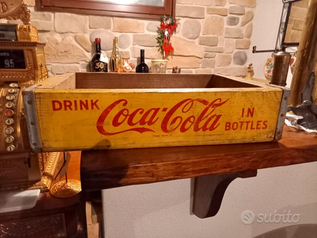 Cassetta vintage coca cola gialla originale
