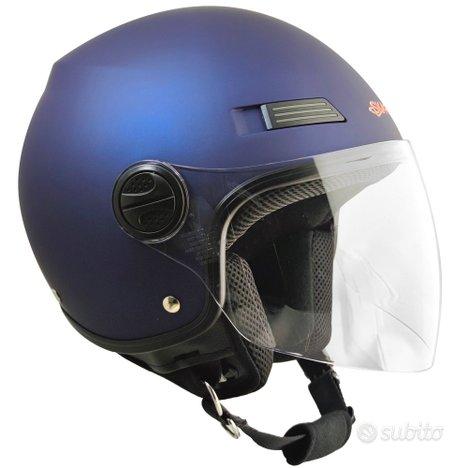 Casco jet moto scooter visiera lunga trasparente