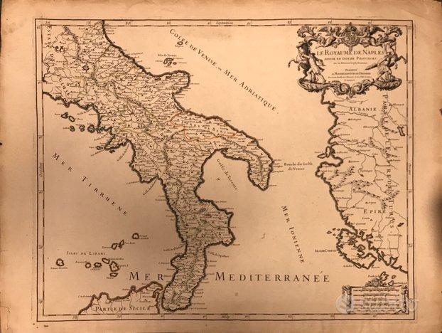 Cartina del 1679 del regno di napoli ,50x65
