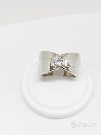 Anello Solitario due fasce Diamante Naturale0,36ct
