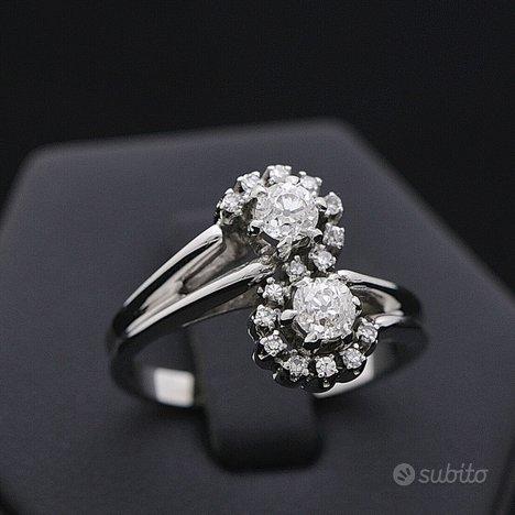 Anello contrariè oro 18kt diamanti 0.59 ct