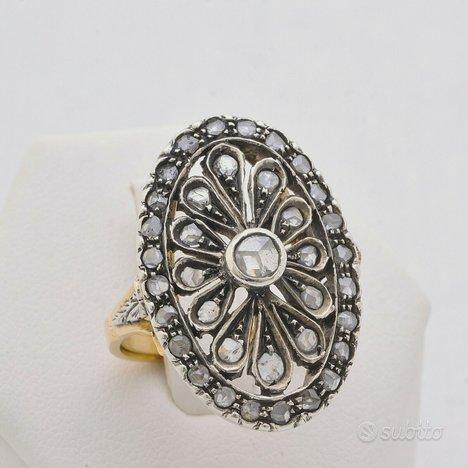 Anello vintage in oro rosa 14kt/argento e diamanti