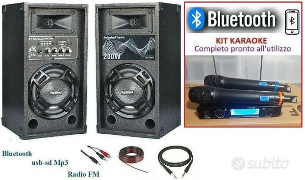 Kit audio karaoke casse attive bluetooth usb mp3