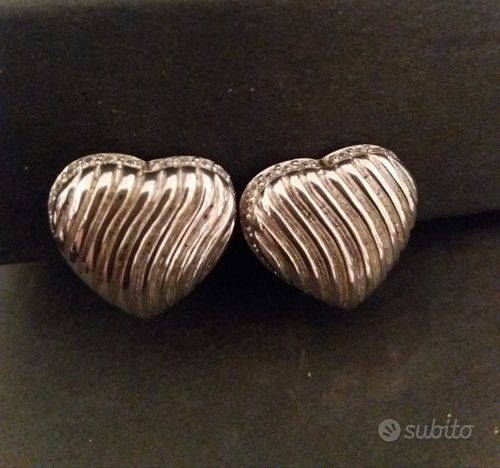 Orecchini cuore argento/zirconi clip