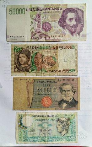 Banconote 4x 50000 5000 1000 500 lire n1