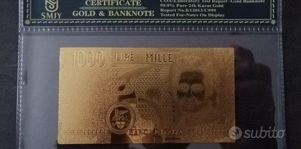 Banconote 1000 10000 50000 lire oro