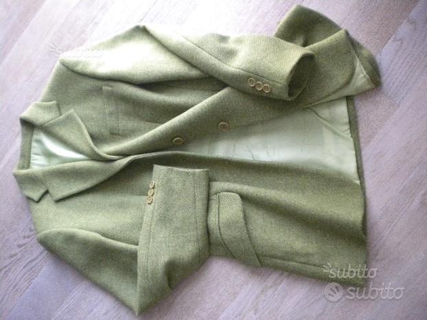 Giacca tg 44 verde in lana tweed
