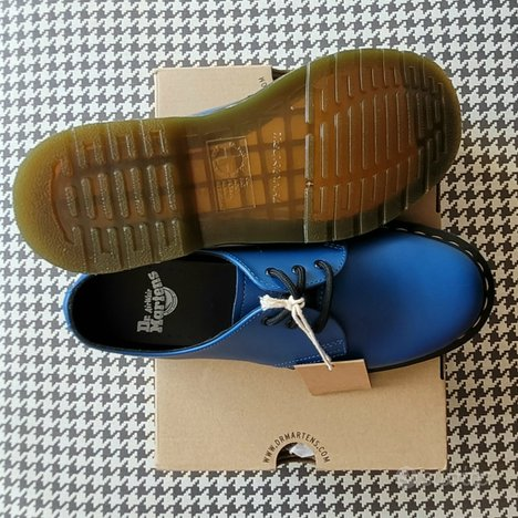 DR MARTENS pelle 1461 Smooth Blue NUOVE nr 40