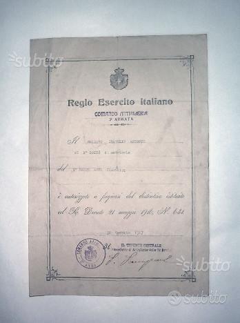 Documento del regio esercito italiano