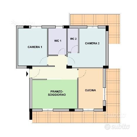 Appartamento 86 mq, 2 camere, doppi servizi