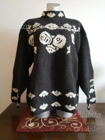 Maglione donna lana oversize tg. L grigio scuro