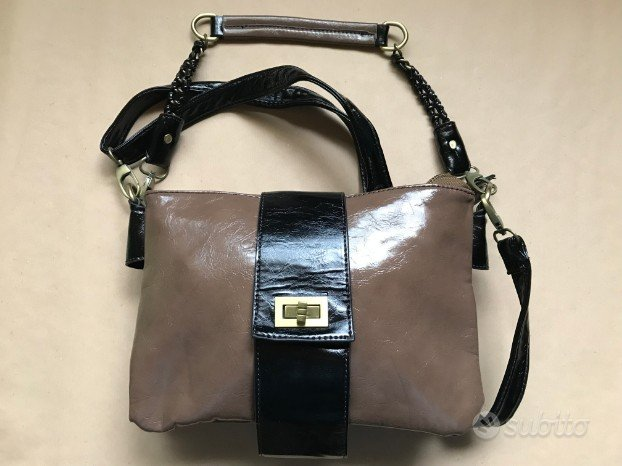 Borsetta stile vintage vernice marrone-nera