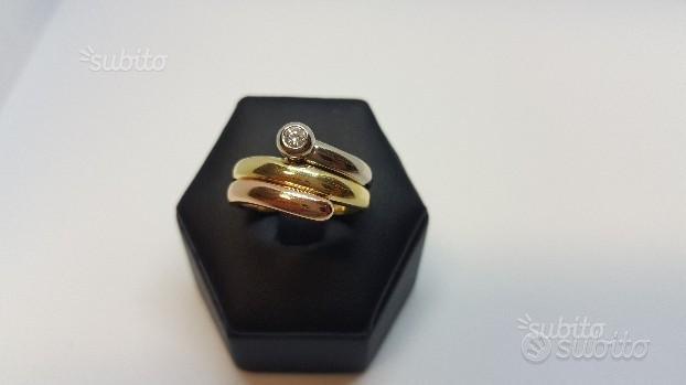 Anello 3 fasce oro giallo, bianco,rosa e diamante