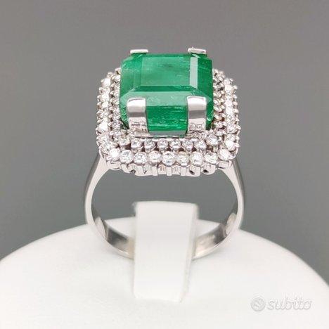 Anello oro bianco 750 18kt smeraldo certificato