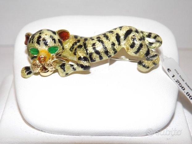 Spilla leopardo oro e smalti