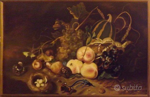 Dipinto ad olio su tavola anni 60 - Natura morta