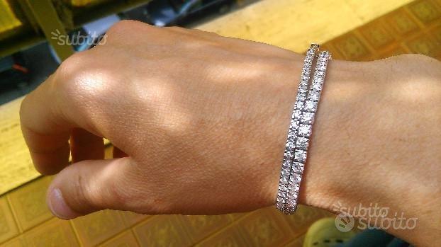 ENORME bracciale tennis oro bianco con diamanti