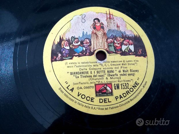 Vinile Biancaneve e i Sette Nani. 1938 Walt Disney