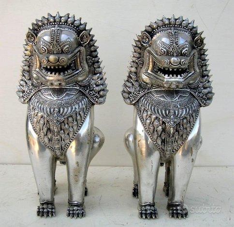 Leoni Khmer Coppia anni 30'bronzo cromato