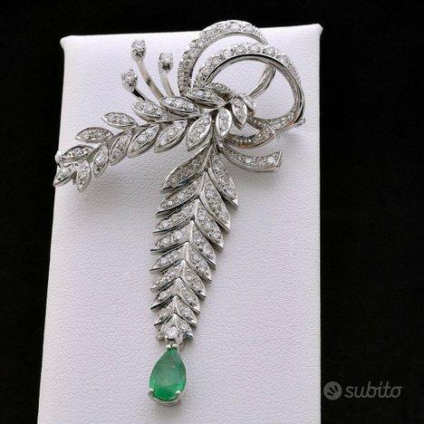 Spilla vintage oro 18kt diamanti 1.51ct smeraldo 1