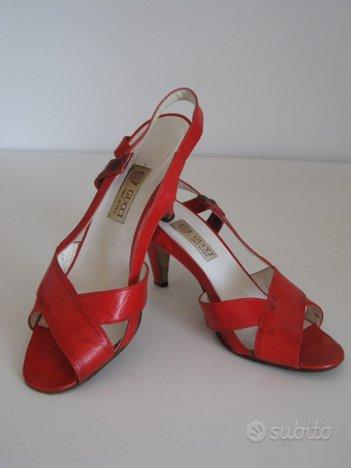 Sandali Gucci pitone rosso vintage anni '70