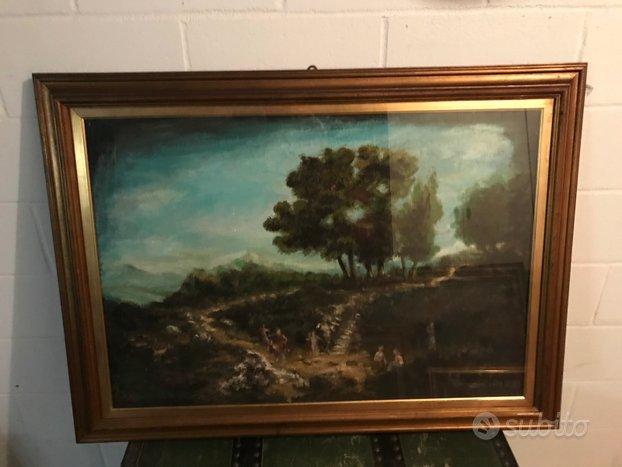 Quadro dipinto passeggiata bosco di C. Rizzi