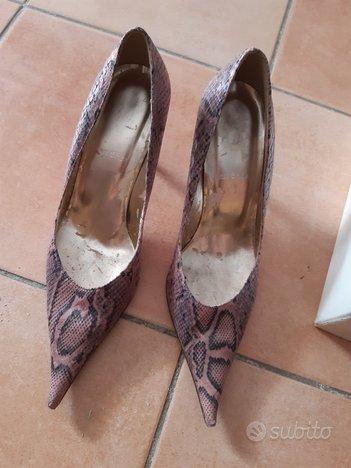 Scarpe a punta con tacco pitonate rosa 38