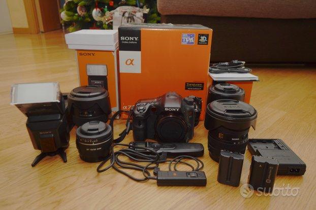 Sony SLT-A77 + flash + 4 obiettivi + accessori