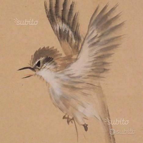 Antico dipinto giapponese allodola,viole 1900/1940