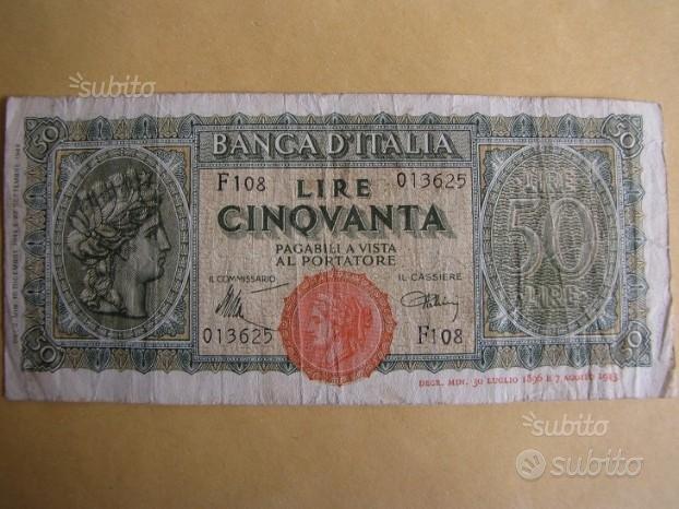 Banconota Italia Turrita di 50 Lire
