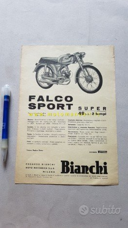 Bianchi 50 Falco Sport Super 1961 depliant moto