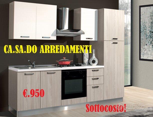 Cucina moderna lineare L.255 cm colore olmo e bian