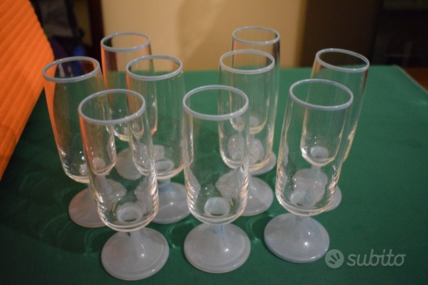 Set 9 bicchieri flute azzurrini vintage