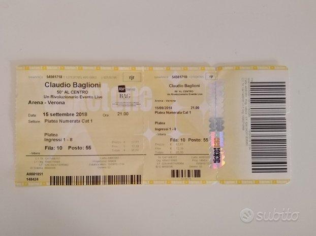 Biglietto concerto Baglioni - Al centro 2018