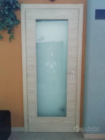 Porta interna laminata rovere con vetro satinato