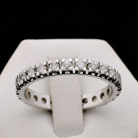Anello veretta girodito oro 18 kt diamanti 1.10 ct