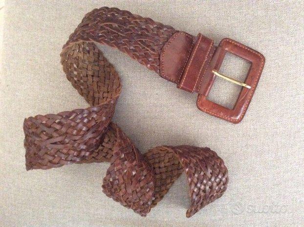 Cintura vera pelle intrecciata da donna