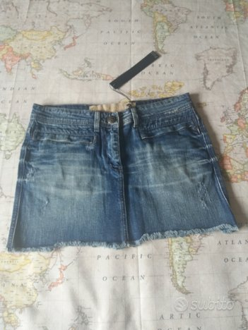 Minigonna jeans effetto used nuova