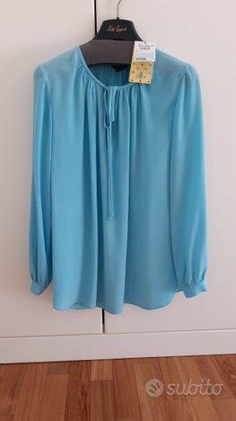 Blusa in seta turchese Luisa Spagnoli