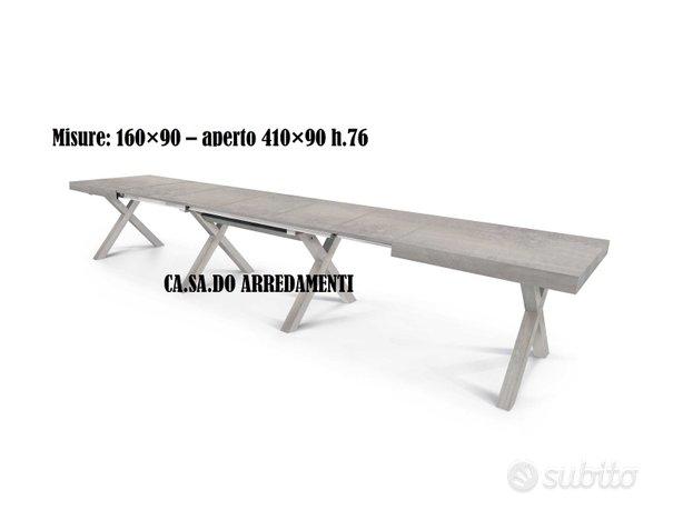 Tavolo con 5 allunghe cm 50