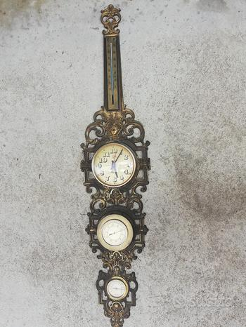 Barometro vintage con orologio