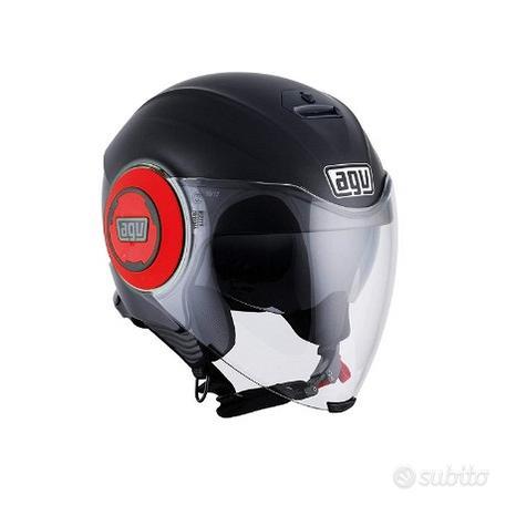 AGV Casco Moto Fluid E2205 Solid, Matt Black/Red
