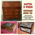 Lotto 3 mobili anni 60 artigianato cerea/cas